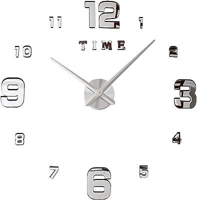 SOLEDI Horloge Murale avec Chiffres adh/ésifs 3D DIY Bricolage d/écoration Ornement Noir
