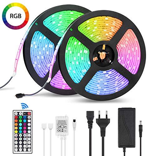 LED Streifen 10m Wasserfestes LED-Strip-Kit mit 300 SMD 5050 RGB-LEDS 44-Tasten-Infrarot-Fernbedienung 12V DC Netzteil und Verbinder für Weihnachten Feiertage Heim Küche Auto Dekoration