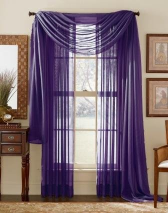 """3 Piece Sheer Panel (2 Pieces 58"""" x 84"""") and Scarf Window (1 Pieces 37"""" x 216"""") Curtain Combo Set (Purple)"""