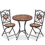 Deuba Mosaiksitzgarnitur Gernika 2X Stuhl + 1 Tisch Sitzgruppe Mosaiktisch Mosaikstuhl Gartentisch