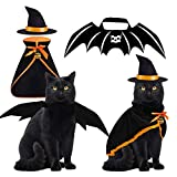 Halloween Cat Costume Bat Wings Witch Cloak Wizard Hat 3 PCS Pet Costumes for Small Cats Kittens Cosplay Halloween Party Decoration Bat Costume Cat Dress Up Accessories