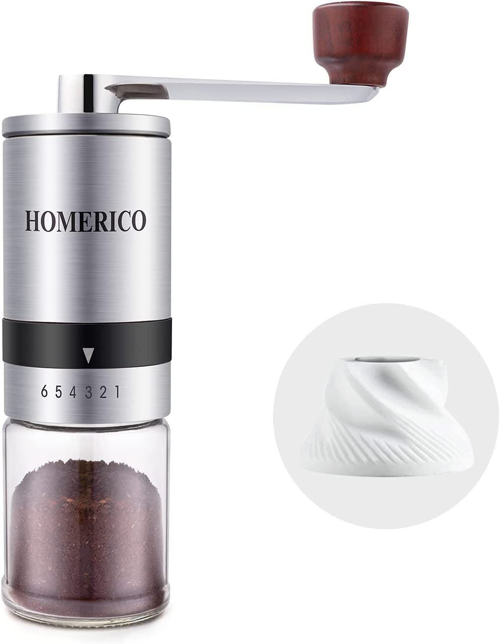 Homerico Manual Coffee Grinder with External Adjustments, Ceramic Conical Burr Mill & Stainless Steel Waterproof Body, Small Portable Hand Coffee Bean Grinders for French Press, Espresso, Turkish Brew