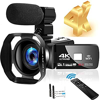 4K Video Camera Ultra HD Camcorder 48.0MP IR Night Vision 32X Digital Camera WiFi Vlogging Camera with External Microphone and Lens Hood, 3 in Touch Screen from SEREER