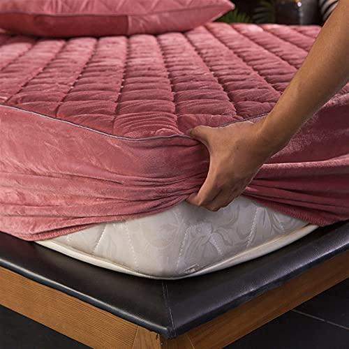 GZGLZDQ Protector De Colchón Acolchado, Color Sólido Acolchado Caliente Funda De Colchón Acolchado, Premium Microfiber Filling Twin Mattress Cover Bedspread (Color : Pink, Tamaño : 200x200)