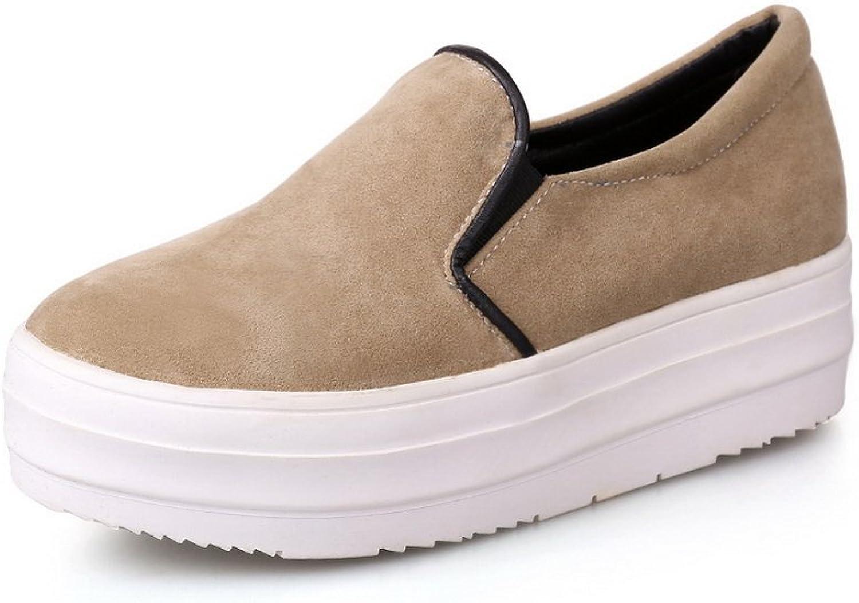BalaMasa Ladies Platform Pull-On Round-Toe Fabric Oxfords-shoes