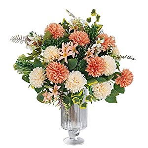 LA.PONEE Fake Hydrangeas Flowers – Bouquets of Artificial Flowers for Wedding Decoration, Silk Flowers with Stems, Floral Centerpieces for Tables, Faux Spring Floral Arrangements (2 Pack – Champagne)