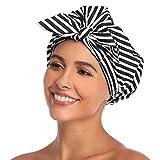 VVolf Shower Cap for Women Hair Caps for Shower Reusable Shower Cap for Long Hair Large Turban Shower Cap for Braids Black