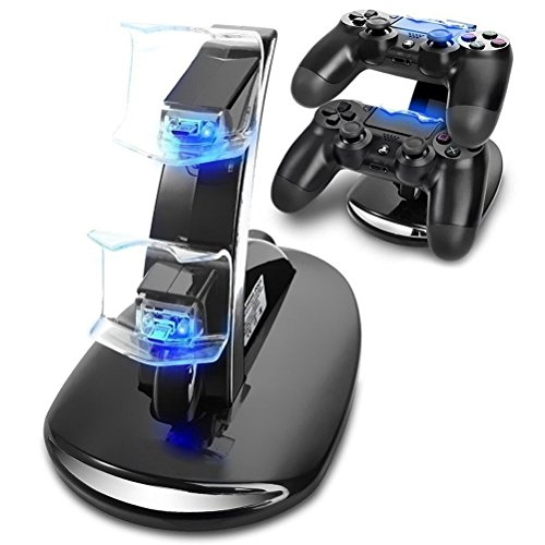 takestop Base di Ricarica Doppia Charging Stand per Controller Joystick Playstation 4 PS4 Silm/PRO Dual Dock Supporto CARICABATTERIA