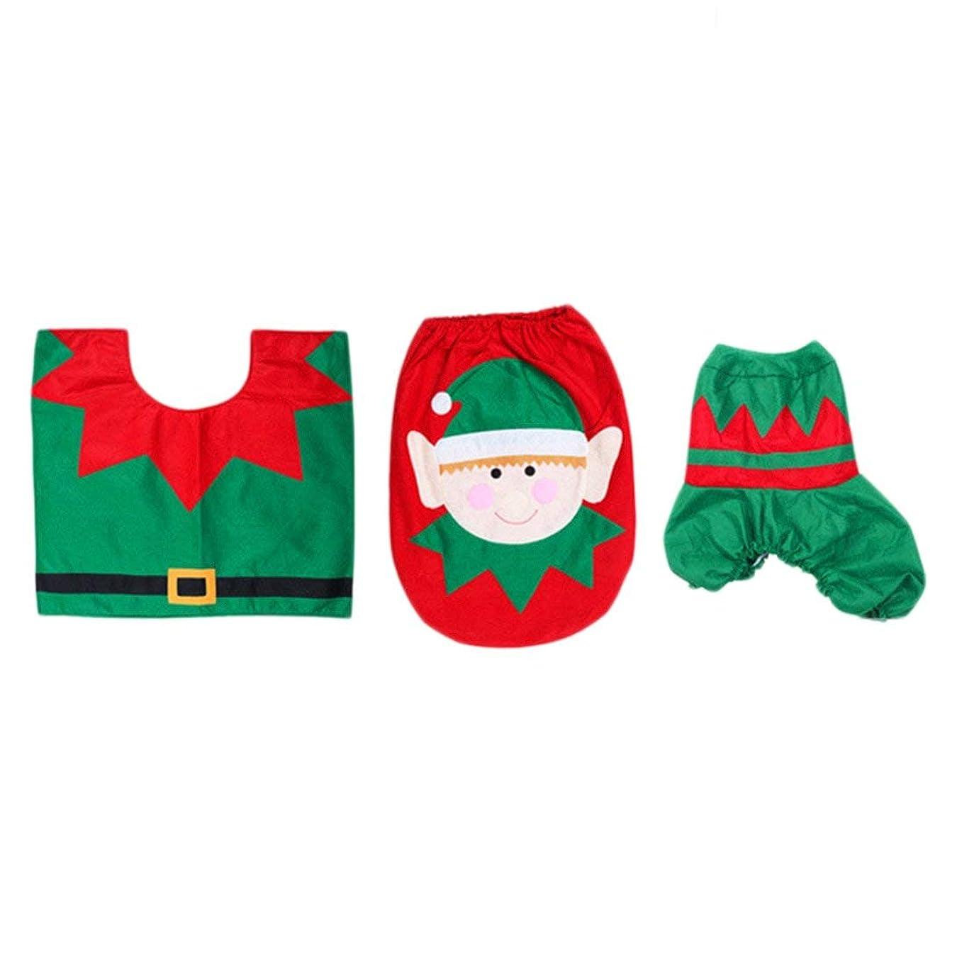 円形の試用下に向けますSwiftgood 浴室のための3部分のクリスマスの装飾のスノーマン様式の便座カバー