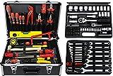 Famex 743-51 Alu Werkzeugkoffer gefüllt mit Steckschlüsselsatz | Werkzeugkiste und Ratschenkasten | Werkzeugbox | Werkzeugkasten bestückt mit Werkzeug