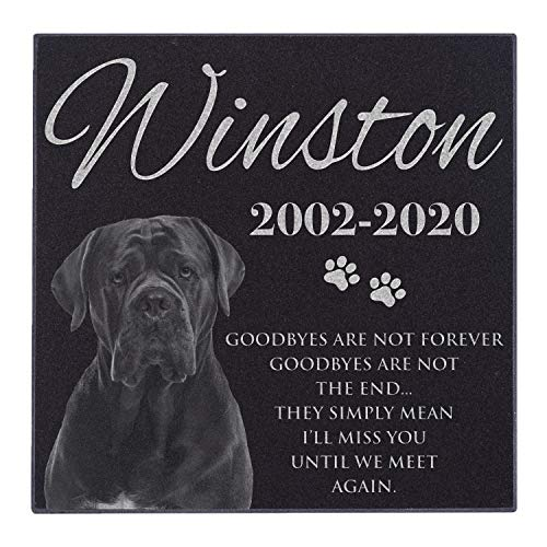 Lara Laser Works Pet Memorial Gifts, Personalized Dog Memorial Stone with Photo - 6x6 Small - Pet Loss Gifts, Dog Headstone Sympathy Gifts, Dog Remembrance, Engraved Granite Pet Grave Markers