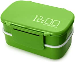 Japan Style Double Tier Bento Lunch Box Kitchen Accessories Tableware Microwave -1410ml Green