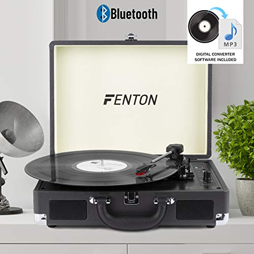 Fenton RP115C Record Player Bluetooth Turntable with Built-In Speakers USB...