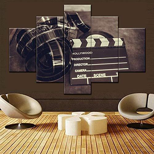 "MGHTZ Cuadro De Arte De Pared 5 Piezas Impresiones Sobre Lienzo 200X100Cm(78.8""X39.4"") Cinema Wall Art For Living Room Movie Clapper Board And Filmstripe Pictures 5 Piezas Vintage Artwork On Canvas Pi"