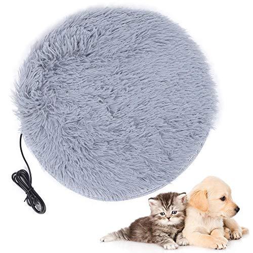 Haustier Heizkissen Elektrische Hunde Katze Kaninchen Heizkissen USB Lade Haustier Heizdecke 28 ℃ Konstante Temperatur Heizkissen Matte Plüsch Katze Hundebett Matte(Silbergrau)