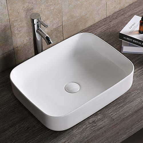 Design Waschbecken Aufsatzwaschbecken Waschtisch Waschschale Hochglanz weiß mit Lotus Effekt schmutzabweisend 515 x 400 x 135 * 385 mm (0084) Art-of-Baan®