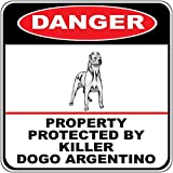 HNNT Señal de Metal Danger Property Protected Killer Dogo Argentino Dog Crossing de Metal, con Texto en inglés New Sign de 30.5 x 30.5 cm