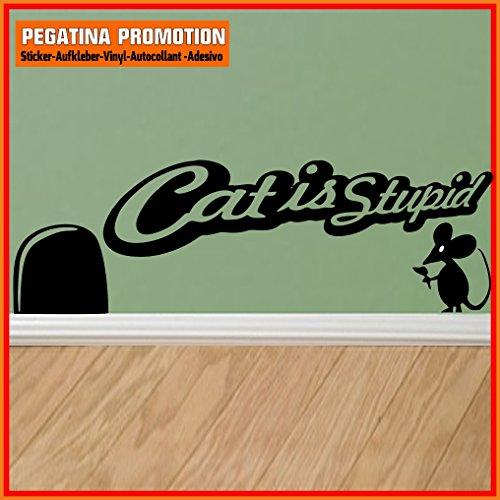 Mäuseaufkleber, Wand-Aufkleber Maus, Wandtattoo für Fussleiste / Wand / Treppe etc. ca. 20 cm breite Katze ist doof, Motiv17