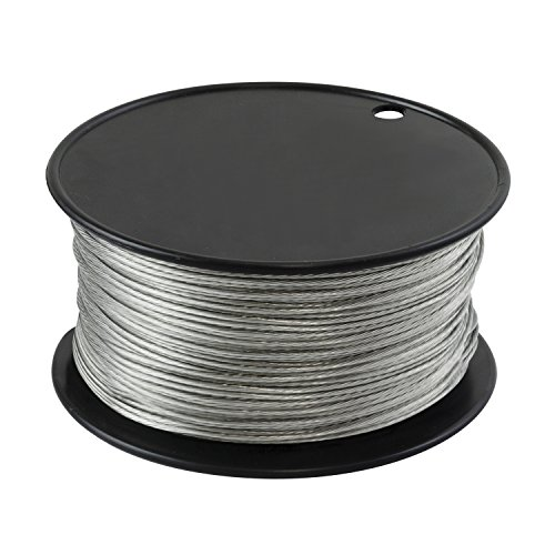 Houseables Wire Vinyl Coated 500 Feet 116 Inch Braided Stainless Steel Cable Plastic Covered Heavy Duty Stranded Rope for String Lights Artificial Flower Wreath Making Trellis Clothesline