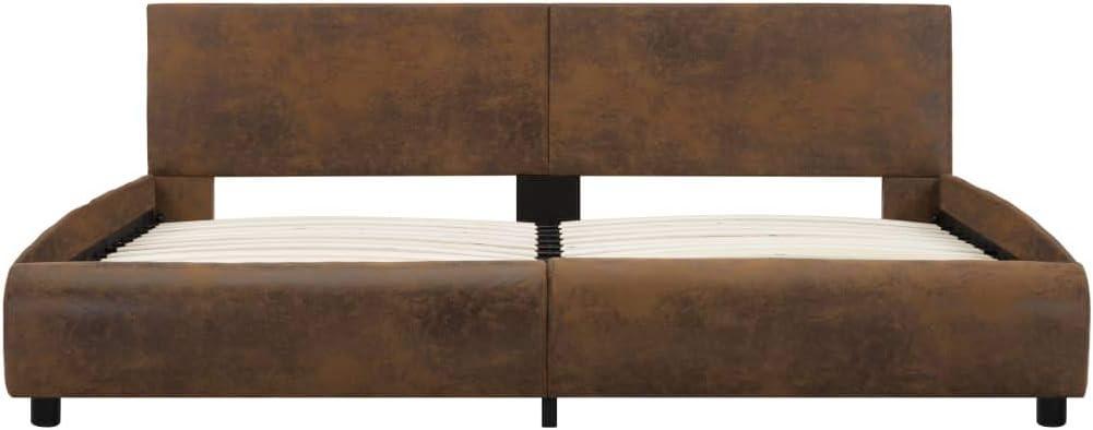 Festnight Cadre de Lit avec LED Lit pour Adulte sans/Matelas Marron Tissu 120 x 200 cm