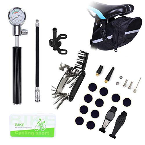 Bike Tire Repair Tool Kit with Mini Gauge Hand Pump, Including 210PSI Bicycle Air Pump Fit Schrader Presta, 16 in 1 Multi Bicycle Fix Tools, Tire Puncture Repair Kit and One Cycling Seat Pack…