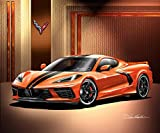 2020 C8 Corvette Stingray - Sebring Orange - Fine Art Print by Danny Whitfield - with Carbon Flash Wheels - Size 20 x 24