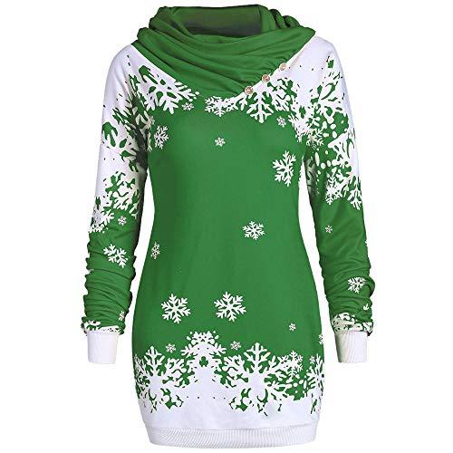 Songqiang Moda Mujer Sudaderas con Capucha Feliz Navidad Copo De Nieve Impreso Tops Sudadera con Cuello Vuelto Promociones De Bajo Precio Sudaderas con Capucha Delgadas-Verde_S_China