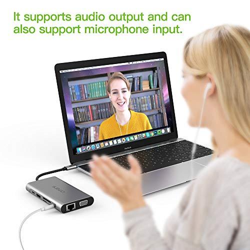 Omars Docking Station, Dual-Display USB C Hub 10-in-1 Adapter 4K HDMI, VGA, RJ45 Gigabit Ethernet LAN, 3 * USB 3.0, Type-C 60W PD, 3.5mm Audio, 3 SD/TF Slot für MacBook Pro/Air und Mehr Type C Geräte