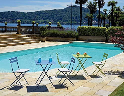 EFFETTO CASA Set Bistro' 2 sedie Pieghevoli + 1 Tavolo Quadrato + 2 sedute Ecru con Calamite (Avio)