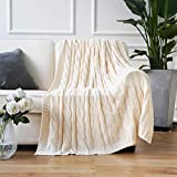 Battilo Soft Knitted Dual Cable Throw Blanket 50' 60' (Cream)
