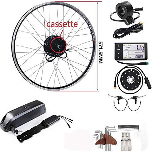 SEASON 36V 350W 26 Pouces Conversion Kit de Vélo Electrique de Roue Arrière Cassette avec 36V12,5AH Lithiun-ION Batterie pour E-Bike Bicycle