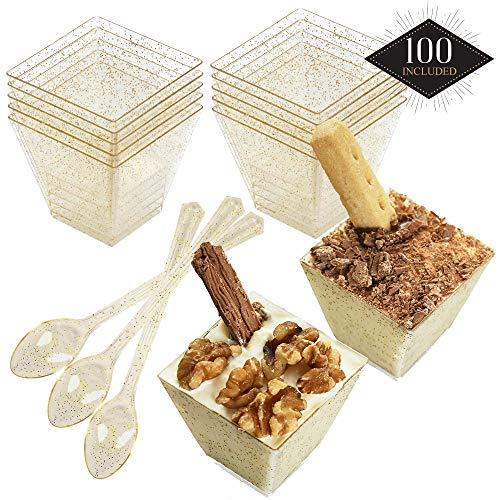 100 Einweg Plastik Dessertbecher mit Goldglitzern & 100 Löffeln, 60ml  Stabile & Mehrweg - Dessertschalen Dessertgläser aus Kunststoff für Mousse Fingerfood Nachtisch Partys Geburtstage Hochzeiten.