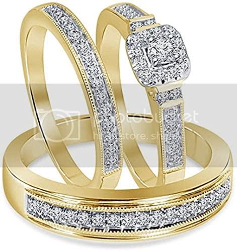 Triostar Anillo de compromiso de oro amarillo de 14 quilates sobre plata 925 de 1,10 quilates con diamantes de diamantes, Piedra Metal, Cubic Zirconia,