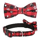 onehous Collar para Perro con Copo de Nieve navideño con Pajarita Desmontable, Pajarita Ajustable Duradera y cómoda para Collar de Perro - Rojo