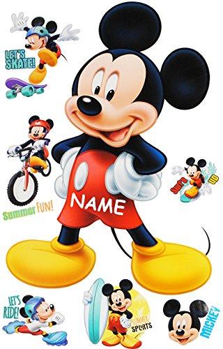 alles-meine.de GmbH 7 TLG. Set _ Wandtattoo / Sticker -  Mickey Mouse  - incl. Name - Wandsticker + Fenstersticker - Aufkleber für Kinderzimmer - Maus Playhouse / Jungen & Mädc..