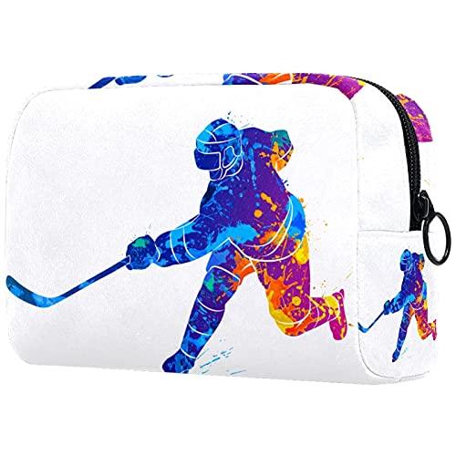 Estuche De Viaje De Maquillaje Jugando Hockey sobre Hielo Organizador Grande del Viaje del Bolso Cosmético del Maquillaje De Capacit para Los Accesorios 18.5X7.5X13Cm