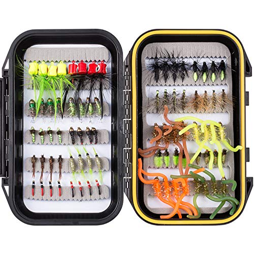 Bassdash Fly Fishing Flies Kit Fly Assortment with Fly Box, 36/64/72/80/96pcs with Dry/Wet Flies, Nymphs, Streamers, etc. (80 pcs Assorted Flies kit with Waterproof Fly Box)