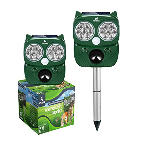 Animal Repeller Solar Powered with Sound Control, Motion Sensor Flashing Lights. Scare Away Deer Cat Dog Racoon Squirrel Birds Mole Rat Vole Skunk Rabbit Coyote