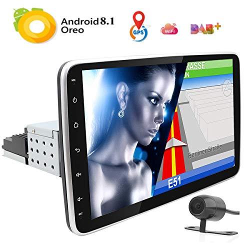 Android 8.1 Auto Stereo 1 Din Autoradio 10,1 inch GPS Navigatie Zat Nav MP5 Speler Intrekbare Touch Screen BT WiFi USB Stuurwiel Controle RDS Radio Spiegel Link Camera