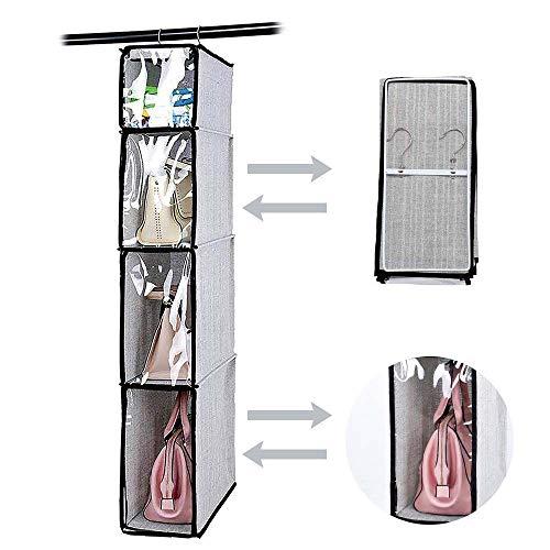 HomeFairy Organizer con Gancio per Armadio, 4-Shelf, 4 Copertura di Dustproof, Ideale per Borse, Accessori, Maglioni(Gray)