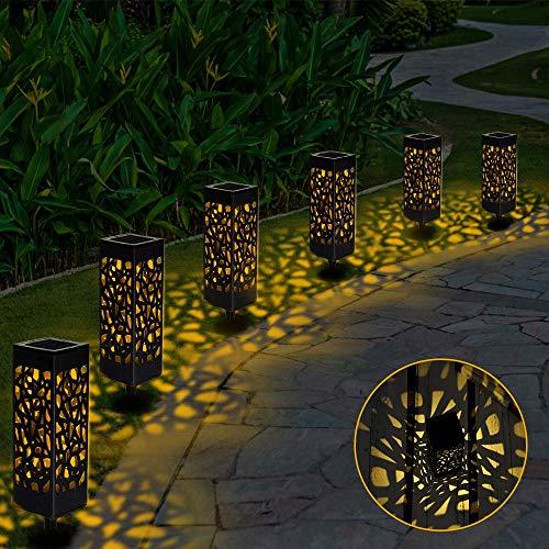 Lámparas Solares para Jardín, 6 Piezas Luces Solar Exterior Jardin Lámpara Solar Jardín Luz Tren Luces Exterior Luz, Impermeable IP 44 para Terraza Césped Jardín Patios(Blanco Cálido)