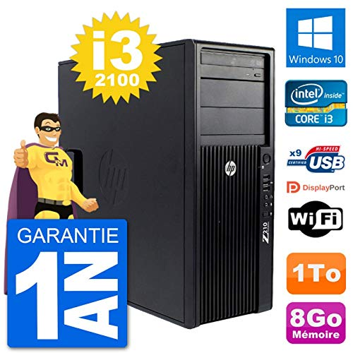 HP PC Tower Z210 Intel Core i3-2100 RAM 8Go Festplatte 1To Windows 10 WiFi (Generalüberholt)