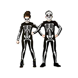 Kids Unisex Skeleton Jumpsuit costume Includes skeleton jumpsuit only Black jumpsuit with white bone imprints Face paint and Mask is NOT included Small 3-4 years, Medium 5-7 years, Large 8-10 years, X-Large 11-13 years