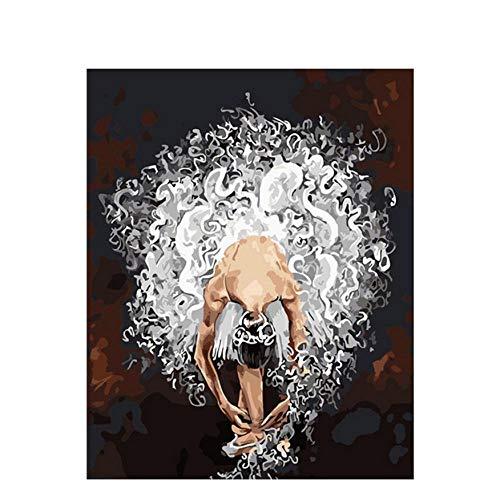 XXSCZ Pintado Bailarina de Ballet Pintura por números DIY Regalo para Colorear por números Pintura de la Lona decoración del Dormitorio para el hogar-2 Sin Marco