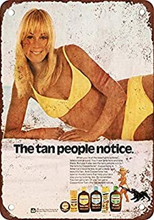 Retro Vintage Metal Signs Novelty Wall Plaque Wall Art Decor Accessories Gifts 8x12 inch,1973 Coppertone Sun Tan Lotion Vintage Look Reproduction Metal