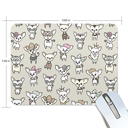 ALAZA Hipster Cute Cartoon Chihuahua Non-Slip Rubber Decorate Gaming Mouse Pad 9.84 x 7.48 inch