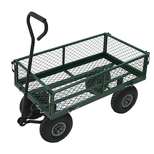 Oypla Heavy Duty Metal Gardening Trolley - Green Trailer C
