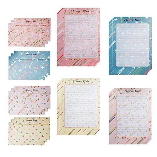 MinniLove 封筒 便箋 手紙セット 挨拶の手紙 花柄4種類 (花柄4種類入り)
