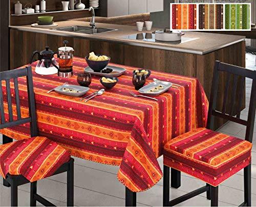 CASA TESSILE Coton ciré câble Nappe Loto - Arancio, 6 Seats 140x180 cm.