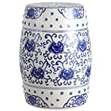 Jonathan Y TBL1000A Lotus Flower 17.8' Chinoiserie Ceramic Drum Garden Stool, Blue/White